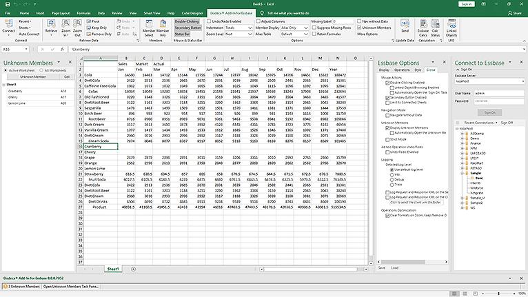 Excel Add-In for Essbase Screenshot - Applied OLAP
